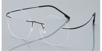 Round Glasses for Men Titanium Rimless Jobs Style, Black
