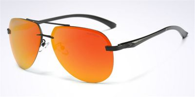 Rimless Sunglasses with Black Avistor Frame Orange Lenses