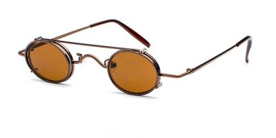 Hipster Small Sunglassess, Brown Frame, Brown lenses