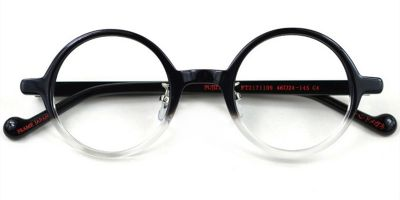 Acetate Small Round glasses for men Black Clear