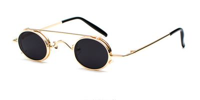 Hipster Small Sunglassess, Golden Frame, Gray Lenses