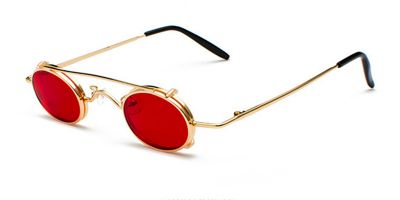 Hipster Small Sunglassess, Golden Frame, Red lenses