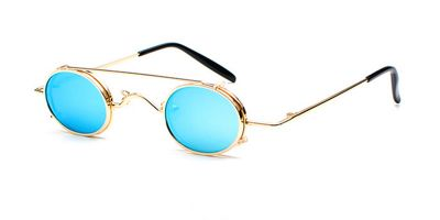 Hipster Small Sunglassess, Golden Frame, Blue Lenses