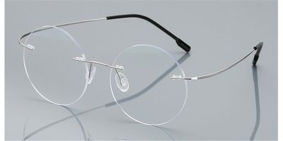 Round Glasses for Men Titanium Rimless  Silver Frame