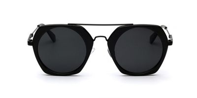 Black Hexagon Hipster Sunglasses Gray Lenses