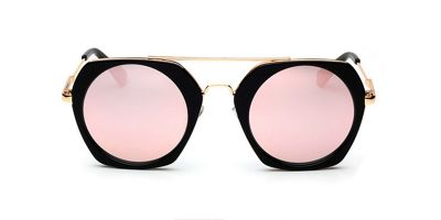 Pink Flash Lens Hexagon Acetate Sunglasses