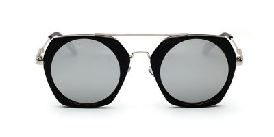 Black Hexagon acetate Sunglasses Silver Lenses