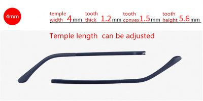 parts of glasses adjustable temple length, width 4.0 mm