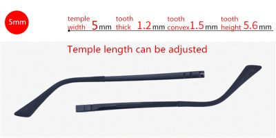 parts of glasses adjustable temple length, width 5.0 mm