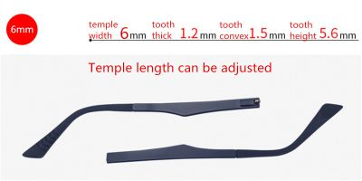 Eyeglass replacement adhustable temple arms, width 6mm