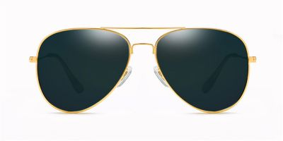 Prescription designer sunglasses,Classic Aviator, Golden