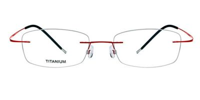Rimless Glasses with Red Titanium Frames