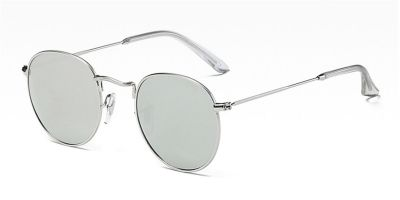 Round glasses with silver metal frame accommodate prescription sunglasses