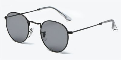 Round glasses with black metal frame and gray sunglasses lenses