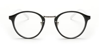 Black Browline Round Glasses for Oblong Face, White Temple