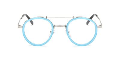 Blue-Silver Round Acetate Wrapped Aviator