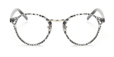 White andblack Browline Round Glasses for Oblong Face