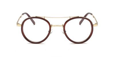 Brown Round Acetate Wrapped Aviator