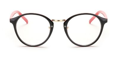 Black Browline Round Glasses for Oblong Face, Red Temple