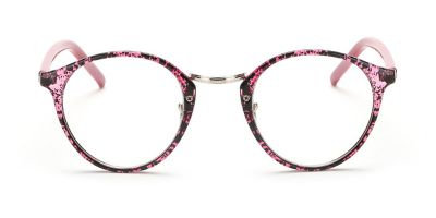 Red Floral Browline Round Glasses for Oblong Face