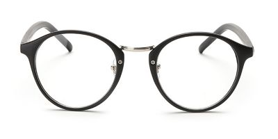 Mettle Black Browline Round Glasses for Oblong Face