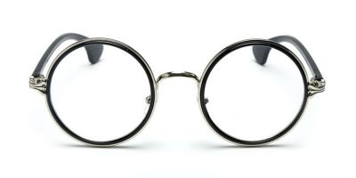 Round Glasses Frames Black Silver