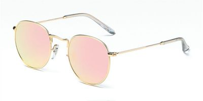 Round glasses with golden frame and pink mirrored sunglasses lenses