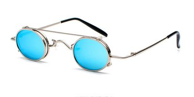 Prescription Designer Sunglasses, Silver Frame, Blue lenses