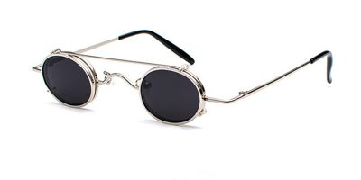 Hipster Small Sunglassess, Silver Frame, Gray Lenses