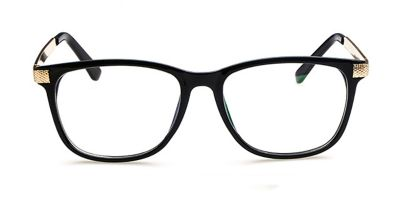 Black Rectangle Glasses for Round Face