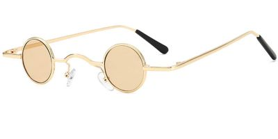 Super Small Round Sunglasses for Men, Golden