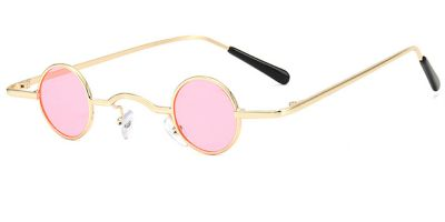 Super Small Round Sunglasses for Men, Pink Lenses