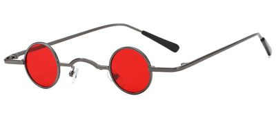 Super Small Round Sunglasses for Men, Red Lenses