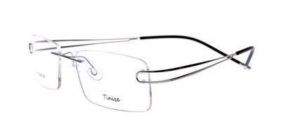 Rimless Glasses with Titanium Frames Gray Twin Temple