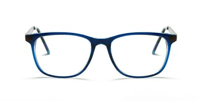 Blue Rectangle Glasses for Round Face