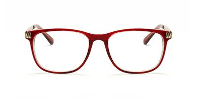 Red rectangle glasses for round face
