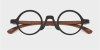 Super Small Round glasses for men Woodgrain